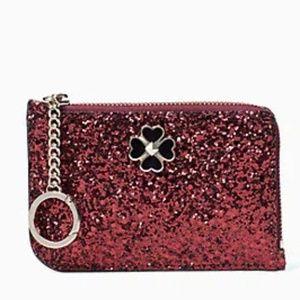 NWT Kate Spade Odette Red Glitter Card Holder